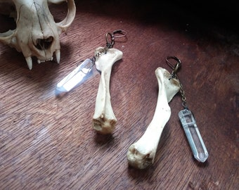 Crystal Quartz and Raccoon Bone - real bone jewelry