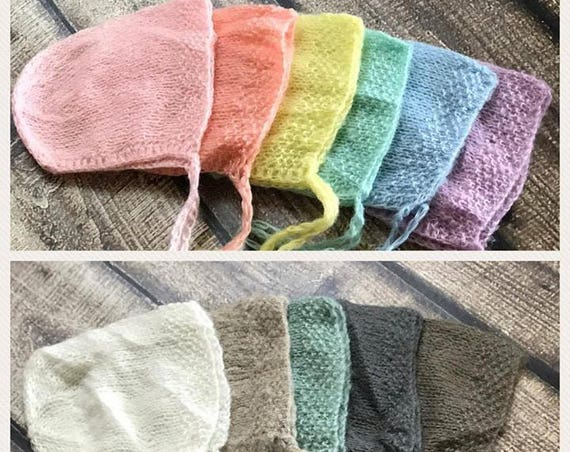 Newborn Bonnet / Many Colors Knit Bonnet / Mohair Photo Prop / Mohair Bonnet / Newborn Photo Prop / Newborn Knit Bonnet / RTS