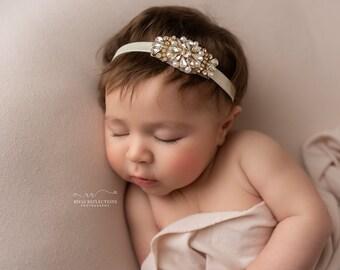 Gold /& Ivory Baby HeadbandBaby HeadbandNewborn HeadbandGirls HeadbandBaby Girl HeadbandInfant HeadbandIvory and GoldBirthday Headband