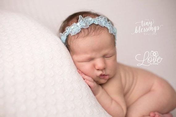 Natalia in Blush Floral Lace Pearl Beaded Headband Halo Tiara Beautiful Newborn Photo Prop Baby Headband Newborn Headband