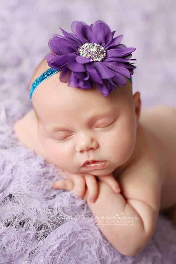 Beautiful Everly Purple and Turquoise Flower Headband, Baby Headband or Clip, Newborn Headband, Flower Headband, Newborn Photo Prop