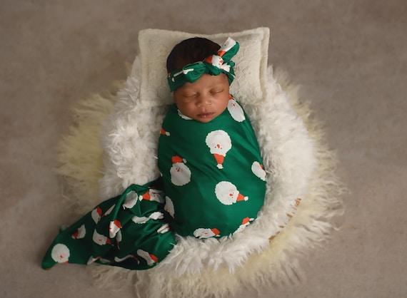 Santa Swaddle Blanket / Bow Headband / Headband Swaddle Set / Lightweight Blanket /Swaddling Blanket / Soft Baby Blanket / Christmas Swaddle