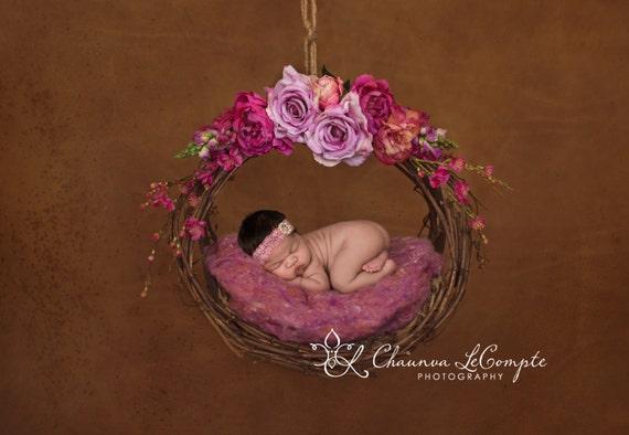 Rhinestone Mauve Headband / Rose Lace Headband / Newborn Headband / Baby Headband / Petite Headband / Baby Girl Headband / Simple Headband