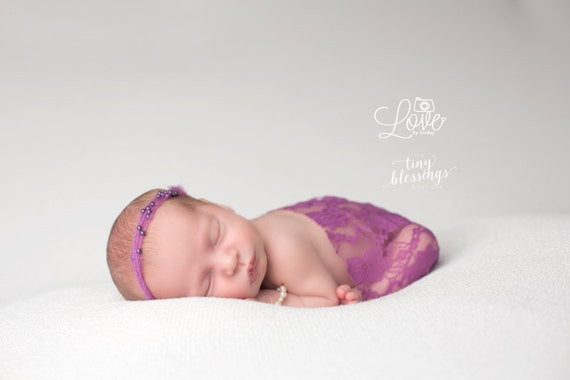 Purple Iris Mohair and Pearl Tie Back and Lace Wrap, Beautiful Newborn Photo Prop, Baby Tie Back, Newborn Photo Prop