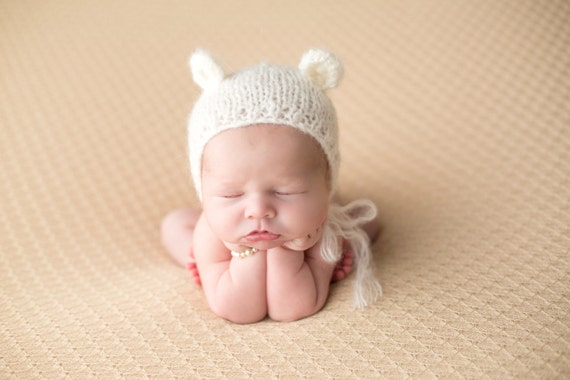 Ivory Bonnet / Bear Bonnet / Knit Bonnet / Ivory Bear Bonnet / Newborn Photography Prop / Baby Girl Prop / Newborn Prop / RTS
