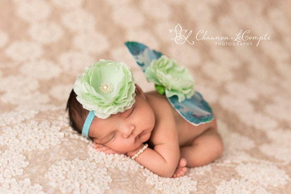 Turquoise and Mint Butterfly Wing Set, Newborn Wings, Newborn Wing Prop, Baby Wing Prop, Newborn Photo Prop, Newborn Butterfly Wings