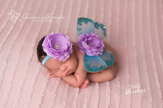 Turquoise and Lavender Butterfly Wing Set, Newborn Wings, Newborn Wing Prop, Baby Wing Prop, Newborn Photo Prop, Newborn Butterfly Wings