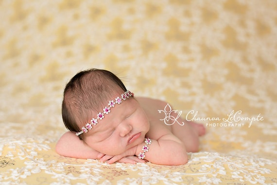 Tracey Stunning Fit for a Queen Newborn Pink Rhinestone Tie Back Baby Headband and Bracelet Set Halo Baby Crown Photo Prop