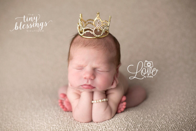 Child Crown Photo Shoot Crown Gold Smaller Rhinestone Crown Baby