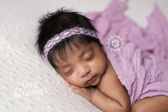 Petite Elegance Collection Petite Lavender and Purple Lace Halo Floral Baby Headband or Tie Back Beautiful Newborn Photo Prop Baby Tie Back
