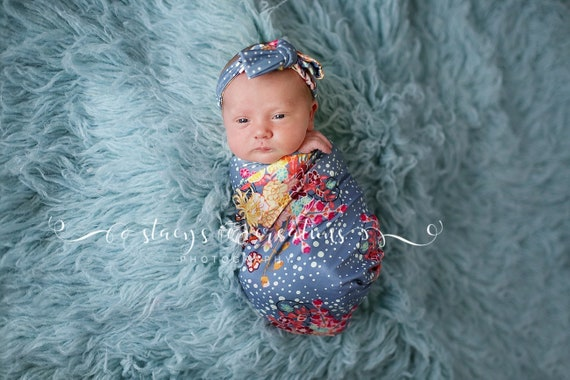 Knit Swaddle Blanket / Knot Headband / Headband Swaddle Set / Lightweight Baby Blanket / Swaddling Blanket / Coming Home Outfit