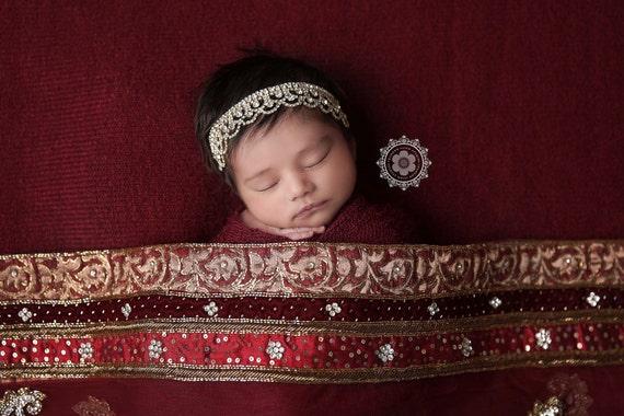 Gwendolyn Stunning Fit for a Queen Newborn Golf Rhinestone Tie Back Baby Headband Halo Baby Crown Photo Prop