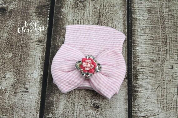 Pink Rhinestone Flower Newborn Hat, Newborn Hat, Baby Hat, Hospital Hat, Newborn Coming Home Outfit, Newborn Hospital Hat, Newborn Hat