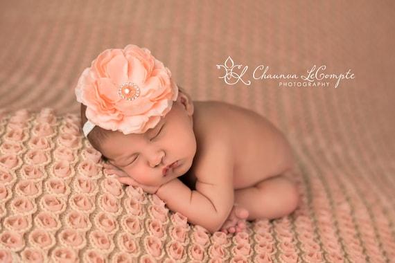 Delaney, Peach Headband, Peach Flower Headband, Baby Girl Headband, Baby Headband, Photo Prop, Newborn Prop, Baby Girl Photo Prop