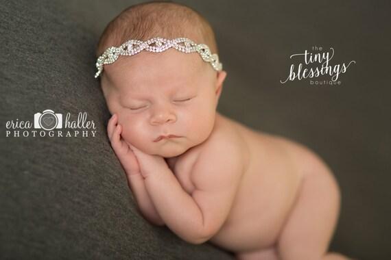 Stunning Fit for a Queen Isadora Newborn Rhinestone Tie Back Baby Headband Halo Baby Crown Photo Prop