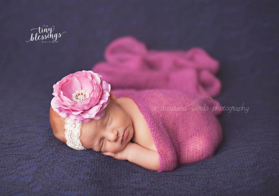 Delaney, Rose Headband, Mauve Flower Headband, Baby Girl Headband, Baby Headband, Photo Prop, Newborn Prop, Baby Girl Photo Prop