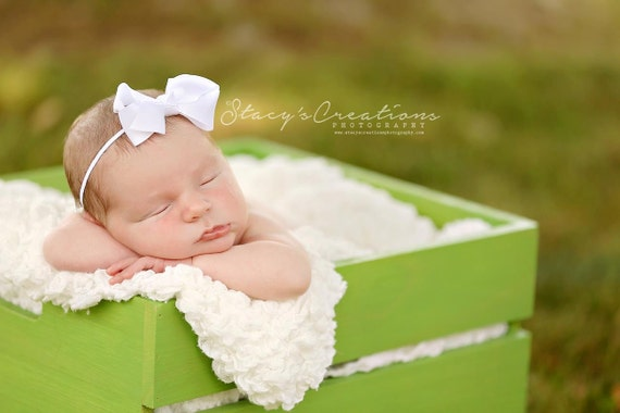 White Bow Headband, Mini Bow Headband, Baby Headband, Photo Prop, White Headband