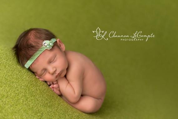 Rhinestone Pearl Headband / Mint Green Headband / Newborn Headband / Baby Headband / Petite Headband / Baby Girl Headband / Newborn Prop