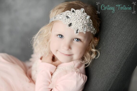 Lucia Rhinestone and Beaded Headband, Baby Halo, Newborn Photo Prop,  Baby Headband, Newborn Prop, Toddler Headband, Baptism Headband