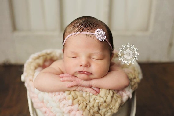 Pink Rhinestone Flower Headband / Pink Headband / Newborn Headband / Baby Headband / Petite Headband / Baby Girl Headband / Simple Headband