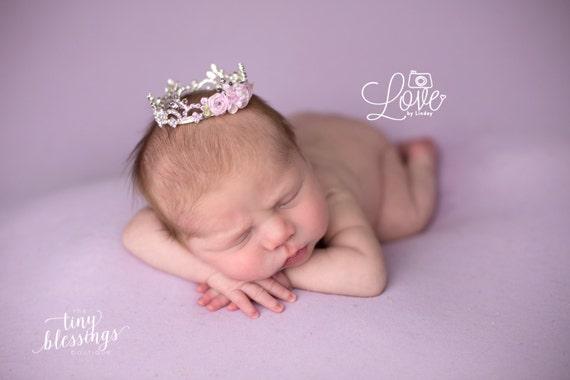 Lavender Austrian Crystal Rhinestone Crown, Princess Crown, Newborn Crown, Newborn Baby Prop, Mini Crown, Newborn Photo Prop, Lavender Crown