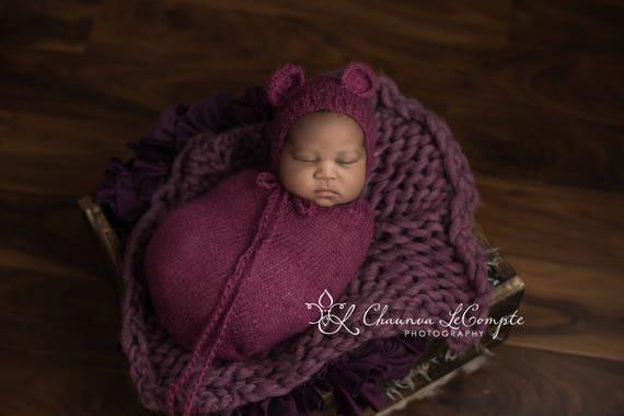 Purple Mohair Snuggle Sack and Bonnet /  Mohair Wrap / Newborn Photo Prop / Knit Newborn Prop / Mohair Cocoon / Newborn Sack / RTS