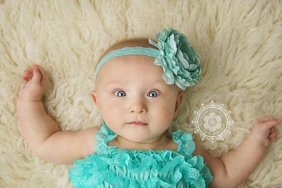 Delaney, Aqua Headband, Aqua Flower Headband, Baby Girl Headband, Baby Headband, Photo Prop, Newborn Prop, Baby Girl Photo Prop