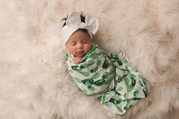 Cactus Swaddle Blanket / Bow Headband / Headband Swaddle Set / Lightweight Baby Blanket /Swaddling Blanket / Soft Baby Blanket