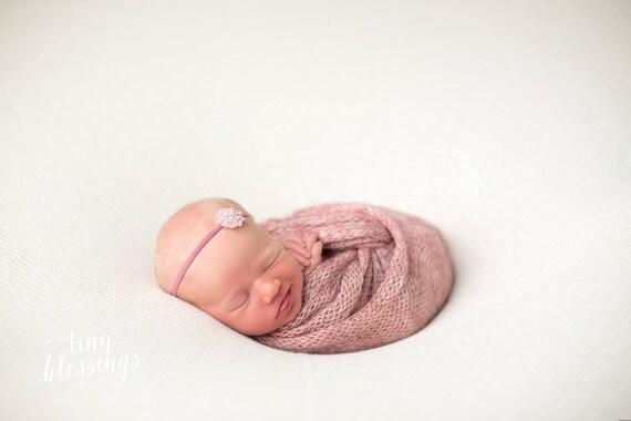 Rose Rhinestone Flower Headband / Mauve Headband / Newborn Headband / Baby Headband / Petite Headband / Baby Girl Headband / Simple Headband
