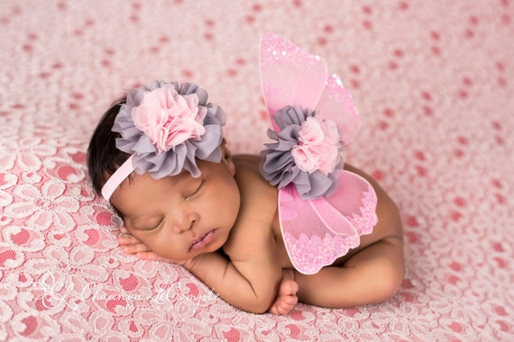 READY TO SHIP, Pink and Grey Butterfly Wing Set, Newborn Wings, Newborn Wing Prop, Baby Wing Prop, Newborn Photo Prop, Newborn Butterfly Set