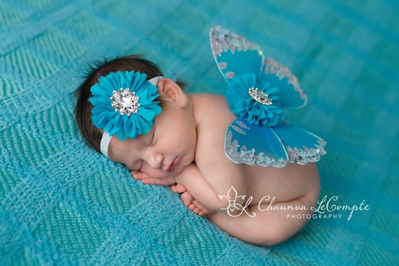 Turquoise and Silver Butterfly Wing Set, Newborn Wings, Newborn Wing Prop, Baby Wing Prop, Newborn Photo Prop, Newborn Butterfly Wings