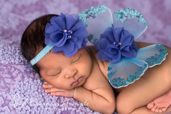 Blue and Purple Peacock Butterfly Wing Set, Newborn Wings, Newborn Wing Prop, Baby Wing Prop, Newborn Photo Prop, Newborn Butterfly Wings