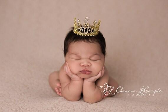 Gold Austrian Crystal Rhinestone Crown, Princess Crown, Newborn Crown, Newborn Baby Prop, Mini Crown, Newborn Photo Prop, Gold Crown