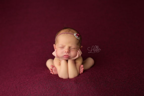 Maroon Gold Rhinestone Headband Stunning Fit for a Queen Newborn Baby Headband Baby Crown Photo Prop
