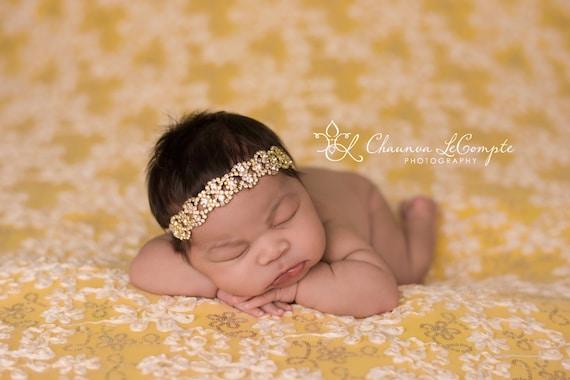 Gold Rhinestone Headband, Gold Leaf Headband, Gold Rhinestone Leaf Headband, Newborn Headband, Newborn Photo Prop, Baby Girl Headband