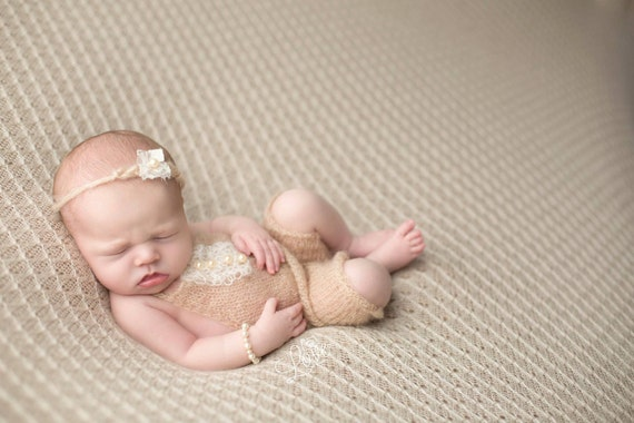 Beige Mohair Romper / Photo Prop / Mohair Photo Prop / Mohair Romper / Newborn Photo Prop / Beige Knit Romper / Beige Tie Back / RTS