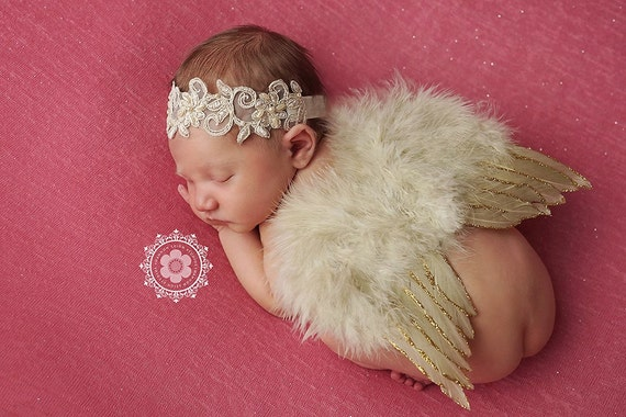 Tan Glitter Angel Wing and Lace Headband, Newborn Wings, Newborn Angel Wings, Newborn Wing Prop, Angel Wing Prop, Newborn Ph