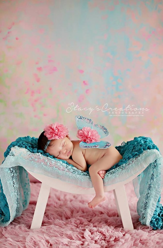 Turquoise and Coral Butterfly Wing Set, Newborn Wings, Newborn Wing Prop, Baby Wing Prop, Newborn Photo Prop, Newborn Butterfly Wings