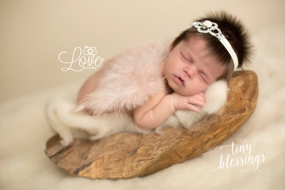 Angel Baby Couture Deep Ivory Angel Wings and Rhinestone Headband Set Beautiful Newborn Photo Prop Infant Newborn Wing Set Newborn Prop