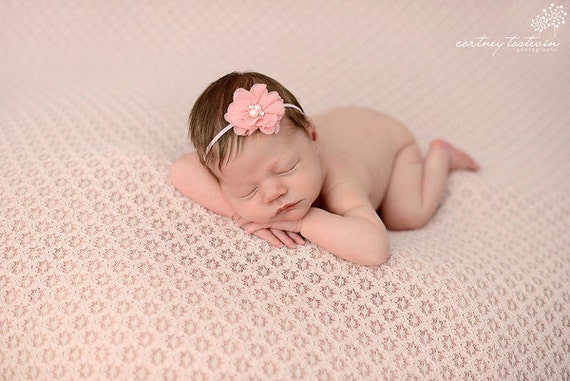 Elaina Collection Rhinestone Pearl Flower Baby Headband or Clip Beautiful Newborn Photo Prop Infant Toddler Adult Many Colors Available