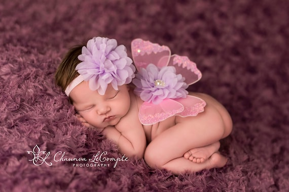 Pink and Lavender Butterfly Wing Set, Newborn Wings, Newborn Wing Prop, Baby Wing Prop, Newborn Photo Prop, Newborn Butterfly Wings