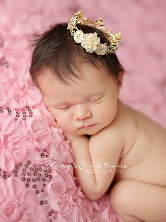 Gold Austrian Crystal Rhinestone Crown, Princess Crown, Newborn Crown, Newborn Baby Prop, Mini Crown, Newborn Photo Prop, Ivory Flower Crown