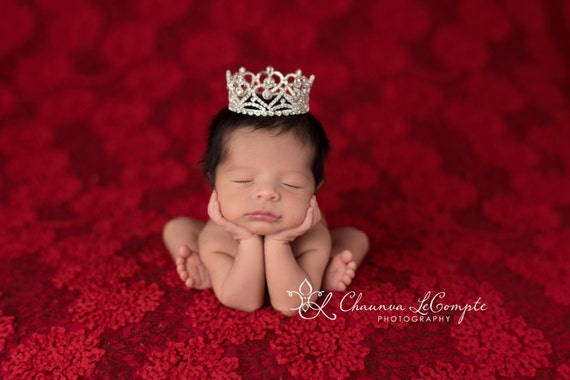 Austrian Crystal Rhinestone Crown, Princess Crown, Newborn Crown, Newborn Baby Prop, Mini Crown, Newborn Photo Prop, Heart Crown