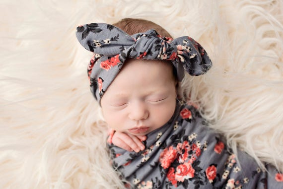 Knit Swaddle Blanket, Knot Headband, Headband Swaddle Set, Lightweight Baby Blanket, Swaddling Blanket, Knit Blanket, Soft Baby Blanket,