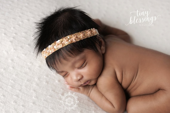 Petite Elegance Collection Petite Amber Gold Sequin Halo Floral Baby Headband or Tie Back Beautiful Newborn Photo Prop Baby Tie Back