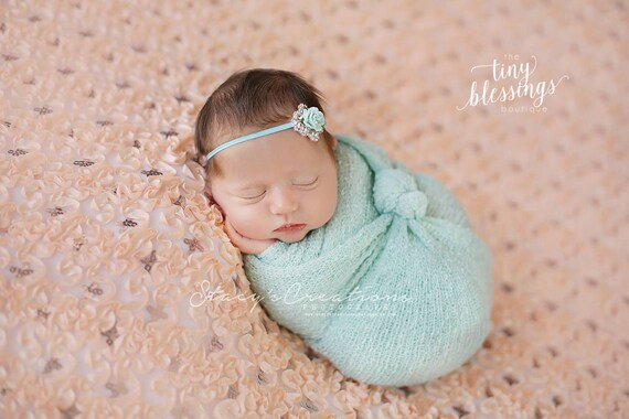 Katie Stunning Fit for a Queen Newborn Aqua and Rhinestone Headband or Tie Back Baby Halo Baby Crown Photo Prop Many Colors Available