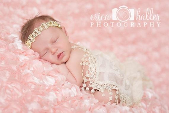 Gwendolyn Stunning Fit for a Queen Newborn Gold Rhinestone Tie Back Baby Headband Halo Baby Crown Photo Prop