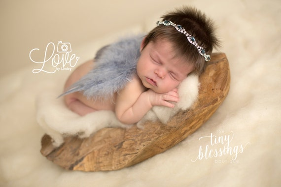 Angel Baby Couture Gray Angel Wings and Navy Rhinestone Headband Set Beautiful Newborn Photo Prop Infant Newborn Wing Set Newborn Prop