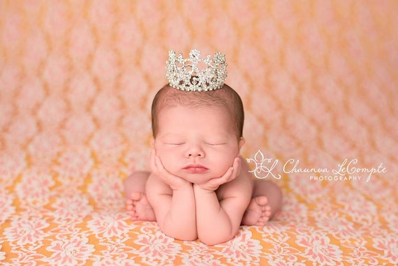 Austrian Crystal Rhinestone Crown, Princess Crown, Newborn Crown, Newborn Baby Prop, Mini Crown, Newborn Photo Prop, Newborn Prop