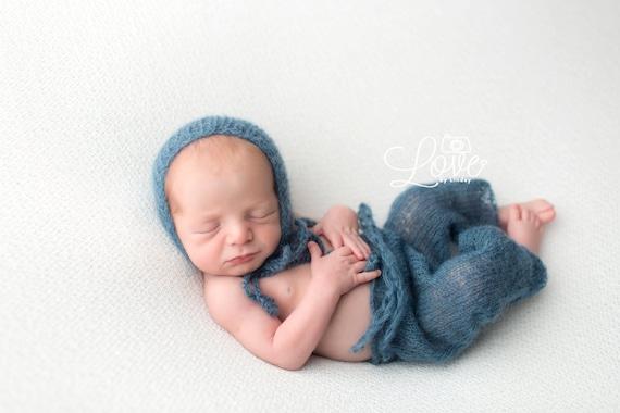 Newborn Pants / Blue Knit Pants / Mohair Photo Prop / Mohair Bonnet / Newborn Photo Prop / Newborn Knit Outfit / Blue Bonnet / RTS